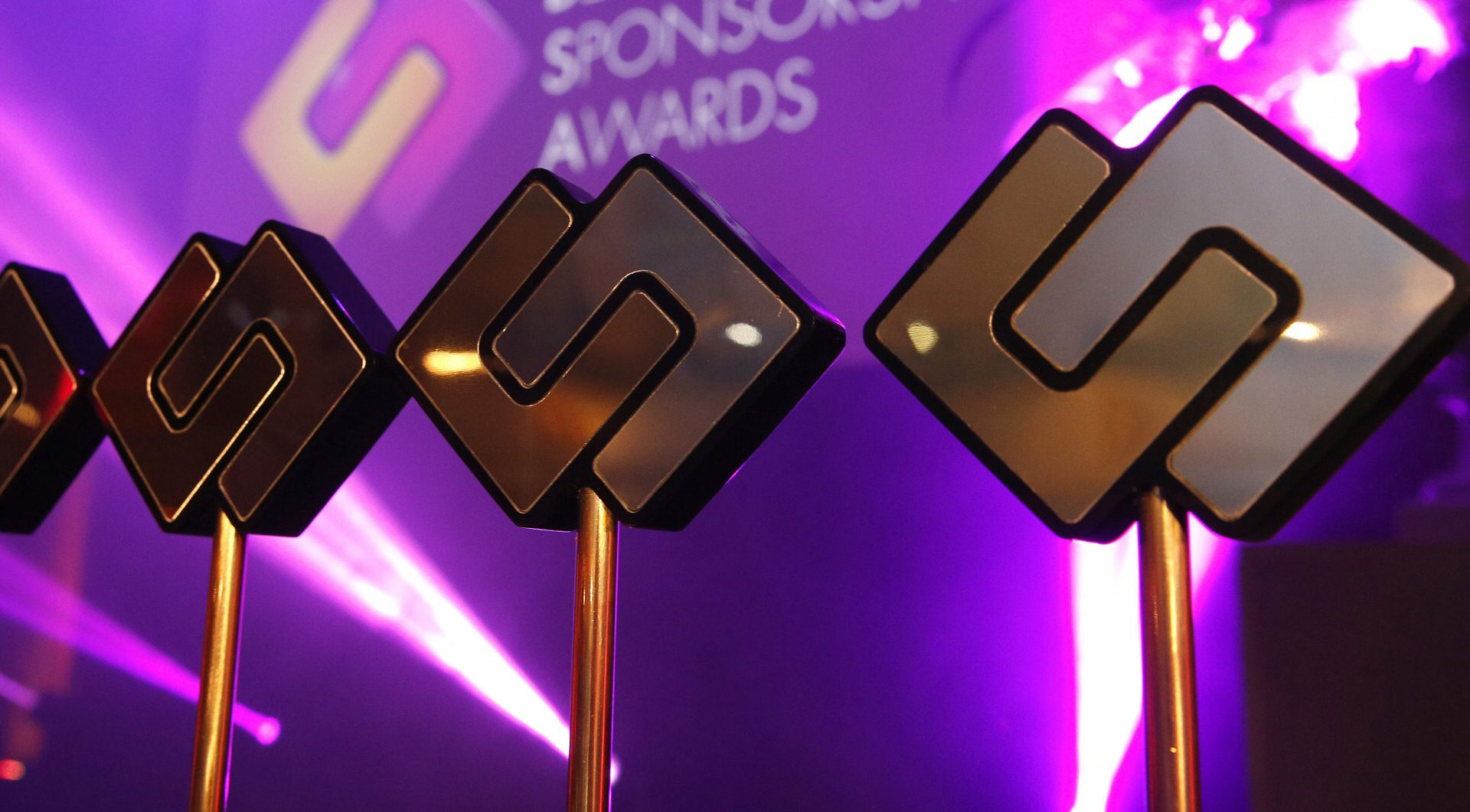 Closeup of trophies at Belgian Sponsorship Awards
