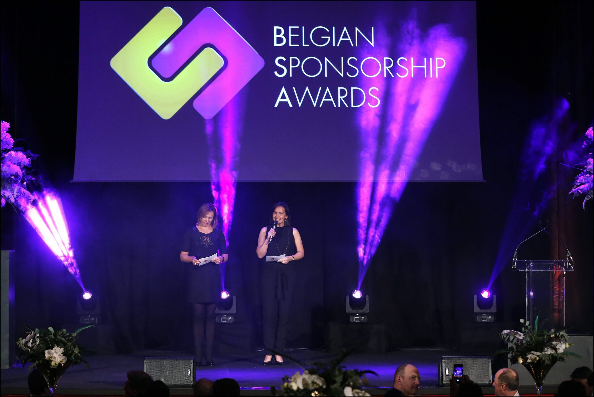 Dominique Monami and Sabine Appelmans on stage during the Belgian Sponsorship awards 2016
